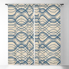 Blue Thin Overlapping Horizontal Lines Pattern on Beige - 2020 Color of the year Chinese Porcelain Blackout Curtain