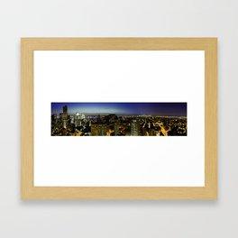 Downtown Manhattan at Night Framed Art Print