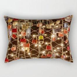 Love locks on the Makartsteg in Salzburg Rectangular Pillow