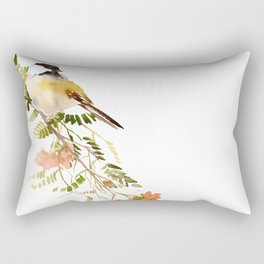 Chickadee Asian Style Bird and Flowers Zen brush painting Rectangular Pillow