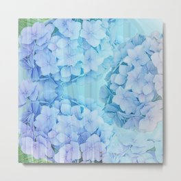 Blue Hydrangea flowers, mixed media art Metal Print