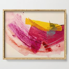 Pink Lemonade: a minimal, colorful abstract mixed media with bold strokes of pinks, and yellow Serving Tray