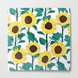 Sunny Sunflowers - White Metal Print