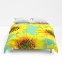 Sunflowers on a pastel green backgrond - #Society6 #buyart Comforters