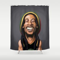 marley Shower Curtains featuring Celebrity Sunday - Robert Nesta Marley by rob art | illustration