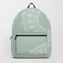 Floral Mandala on Light Greenish Gray Backpack