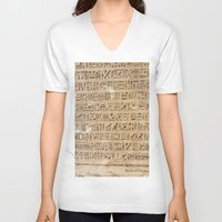 egypt V-neck T-shirts featuring Egypt Hieroglyphs by Manuela Mishkova