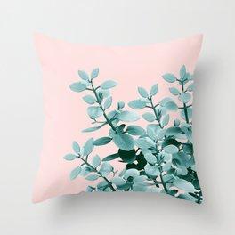 Eucalyptus Leaves Green Blush Vibes #1 #foliage #decor #art #society6 Throw Pillow