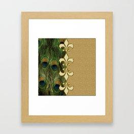 Golden Fleur-de-lis Peacock Feathers Framed Art Print