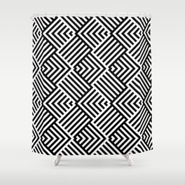 Beautiful pattern with striped lines. Black and white op art. Shower Curtain