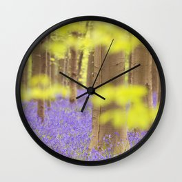 Bluebell forest in full bloom Wall Clock