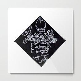 Kraken Octopus Sea Monster Sinking Ship Illustration Metal Print