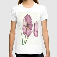 burgundy T-shirts featuring Burgundy Poppies by trabie