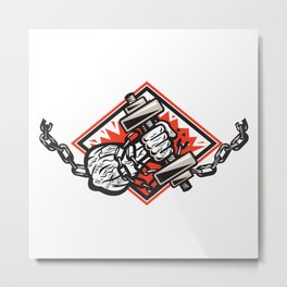 Hand Bursting With Dumbbell In Chains Metal Print