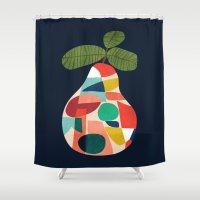 pear Shower Curtains featuring Fresh Pear by Picomodi