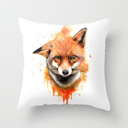 Fox - Watercolour Painting Throw Pillow