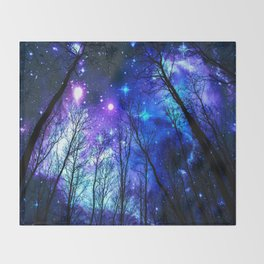 black trees purple blue space Throw Blanket