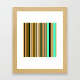 Mint brown stripe Framed Art Print