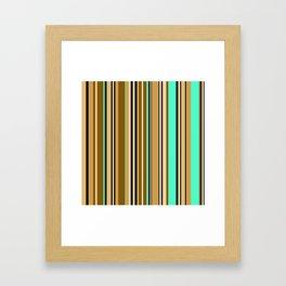 Mint brown stripe Framed Art Print