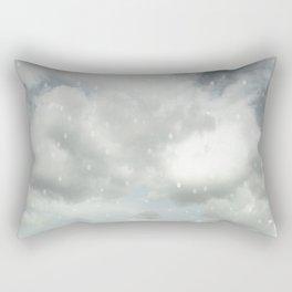 Snowing Winter Scene Illustration #decor #society6 Rectangular Pillow