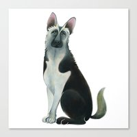 german shepherd Canvas Prints featuring German Shepherd by Cathy Brear