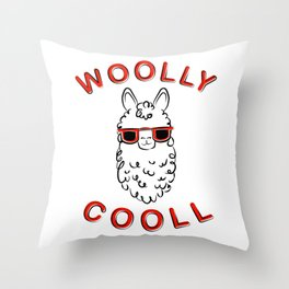 Woolly Cooll Cute Llama Pun Throw Pillow
