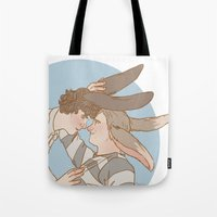 johnlock Tote Bags featuring Bunnylock Boys by Stitchy