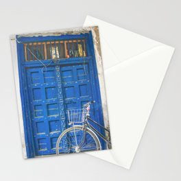 vintage blue door with bicycle Stationery Cards