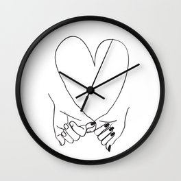 Pinky Promise His and Hers Romantic Love Illustration Wall Clock