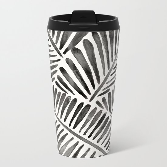 Tropical Banana Leaves – Black Palette Metal Travel Mug