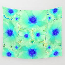 Celadon Jade Green-Blue Color Flower Pattern Wall Tapestry
