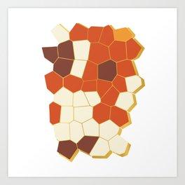 Hexagon Abstract Orange_Cream Art Print