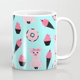 Cute Pink Mint Piggy Donut Ice Cream Cone Pattern Coffee Mug