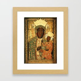 Virgin Mary Our Lady of Czestochowa Black Madonna and Child Jesus religious art Poland Framed Art Print