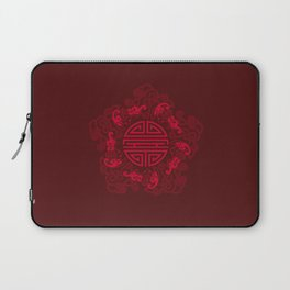 Five Bats with Shou and Clouds Laptop Sleeve