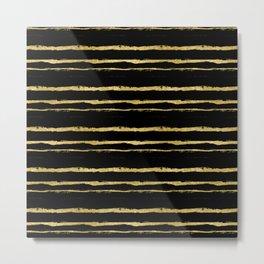 Golden Stripes on Black Background Metal Print