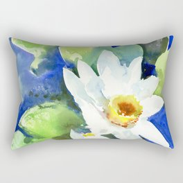 White Lily Pads, Lotus flowers, White Blue Rectangular Pillow