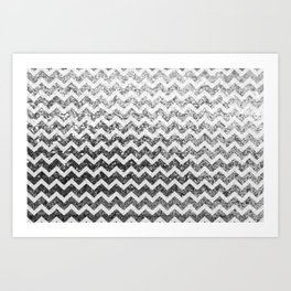 Glitter Sparkly Bling Chevron Pattern (silver) Art Print