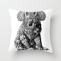 koala Throw Pillows featuring Koala by BIOWORKZ