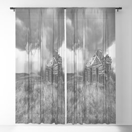 Glory Days - An Abandoned House and Storm in Kansas Sheer Curtain