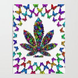 Butterflies Cannabis Leaf 2 Poster