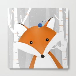 Fox and snail Metal Print