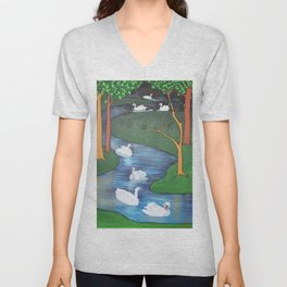 A Flock of Seven Swans-A-Swimming Unisex V-Neck