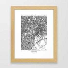 Tokyo Map White Framed Art Print