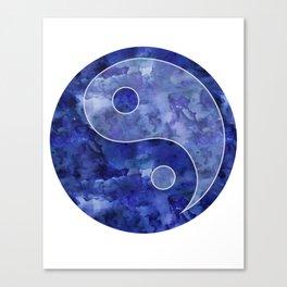 Blue Yin & Yang Mandala Canvas Print
