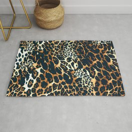 Leopard skin - Fashion animal print - Big cat close-up view hand painted illustration pattern Rug