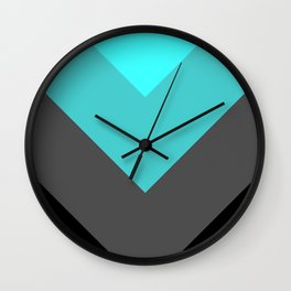 Aqua Gray Chevron Stripes Wall Clock