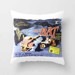The Bat, vintage horror movie poster Throw Pillow