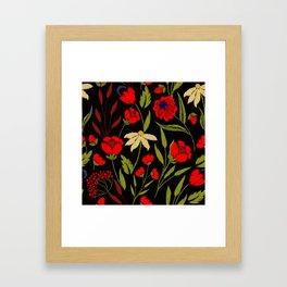 Floral embroidery Framed Art Print