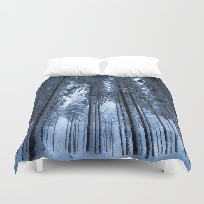 Snowy Winter Trees - Forest Nature Photography Duvet Cover
